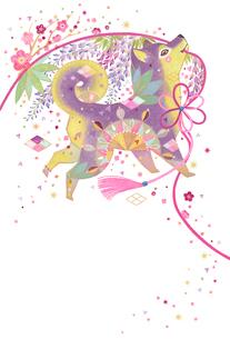 戌年縁起模様 花を咲かせる犬のイラスト素材 [FYI01654009]
