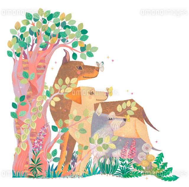 樹の下で待つ3頭の犬のイラスト素材 [FYI01654011]