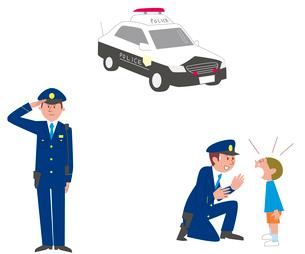 パトカー、警察官敬礼、仕事シーンのイラスト素材 [FYI01654014]