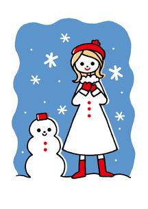 女の子と雪だるまのイラスト素材 [FYI01654020]