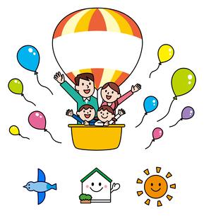 気球に乗った家族・アイコンのイラスト素材 [FYI01654023]