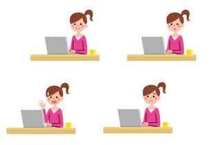 パソコンを使う女の子のイラスト素材 [FYI01654043]