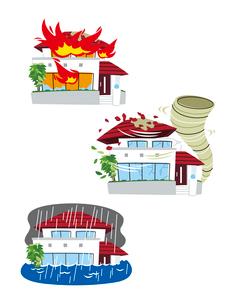 住宅火災保険(火災、風災、洪水)のイラスト素材 [FYI01654078]