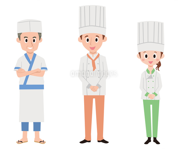 コック3パターン(日本料理、西洋料理男女)のイラスト素材 [FYI01654098]