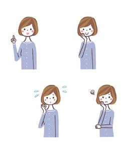 女性表情4パターン(バストアップ)のイラスト素材 [FYI01654114]