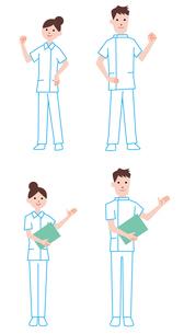 案内をする看護師の男性、女性のイラスト素材 [FYI01654165]