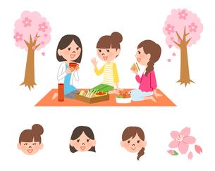 お花見で女子会のイラスト素材 [FYI01654300]