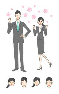 新入社員の女性と男性のイラスト素材 [FYI01654385]