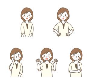 お母さん表情5パターンのイラスト素材 [FYI01654442]