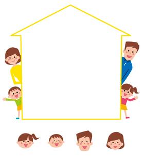 家の形のフレームから顔を出す家族・アイコンのイラスト素材 [FYI01654501]
