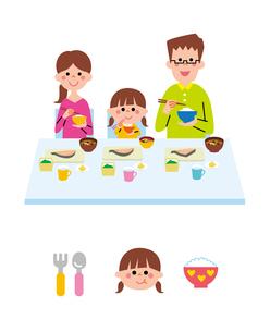 朝食を食べる家族のイラスト素材 [FYI01654509]