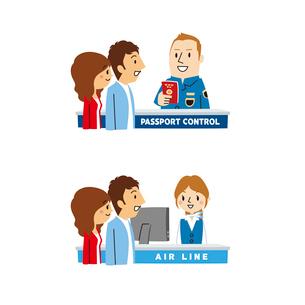 海外旅行/空港入国審査、チケットカウンターのイラスト素材 [FYI01654527]