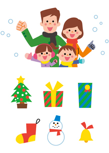 家族とクリスマスアイコンのイラスト素材 [FYI01654531]