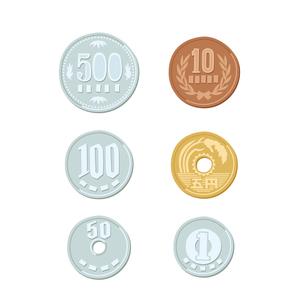 お金 硬貨(500円、100円、50円、10円、5円、1円)のイラスト素材 [FYI01654552]