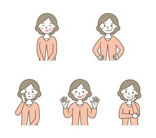 おばあちゃん表情5パターンのイラスト素材 [FYI01654554]