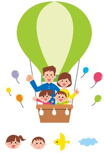 黄緑色の気球に乗った家族・アイコンのイラスト素材 [FYI01654673]