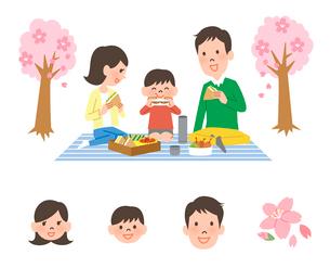 お花見する家族のイラスト素材 [FYI01654694]