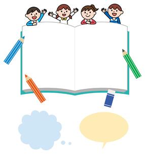 子供と本のフレーム、吹き出しのイラスト素材 [FYI01654697]
