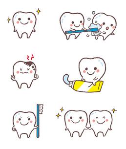 元気な歯、虫歯、歯磨きを促す歯のイラスト素材 [FYI01654703]