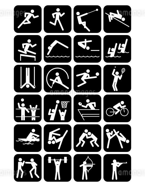 オリンピック競技のスポーツアイコン 黒地のイラスト素材 [FYI01654704]