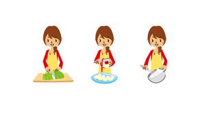 主婦料理(千切り、皮むき、泡立て器)のイラスト素材 [FYI01654772]