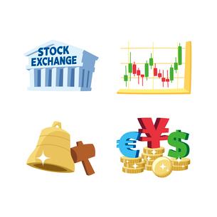 金融(証券取引所、立会開始の鐘、株価チャート、為替)のイラスト素材 [FYI01654777]