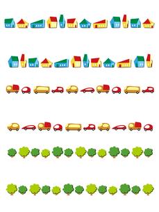 フレーム(家々、自動車、並木)のイラスト素材 [FYI01654805]