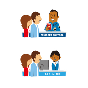海外旅行/空港入国審査、チケットカウンターのイラスト素材 [FYI01654807]