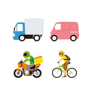 宅配便(トラック、カーゴ便、バイク便、自転車便)のイラスト素材 [FYI01654846]