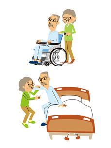 高齢者夫婦の介護/シニア男性(車いす、ベッド補助)のイラスト素材 [FYI01654849]