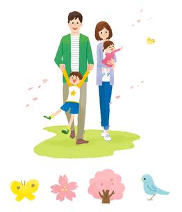家族(春)・春アイコンのイラスト素材 [FYI01654860]