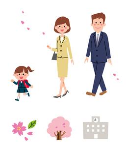 入学式に向かう家族・春アイコンのイラスト素材 [FYI01654866]