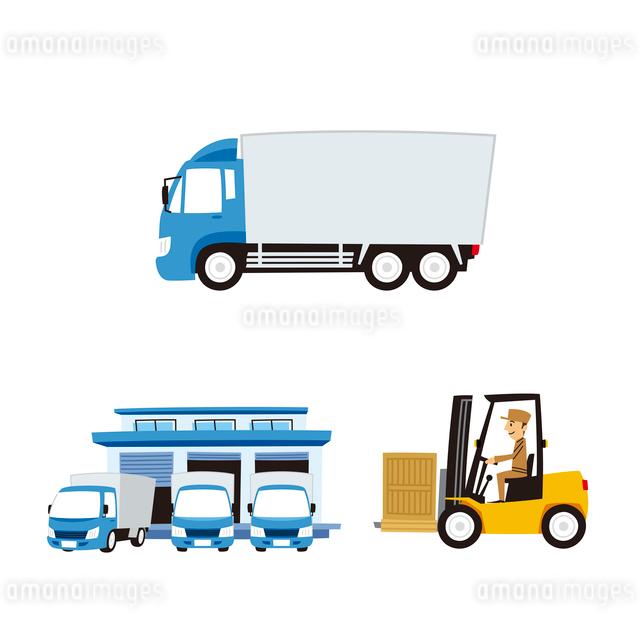 運輸(大型トラック、フォークリフト、配送センター)のイラスト素材 [FYI01654870]