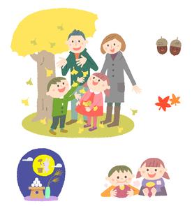 秋の家族のイメージのイラスト素材 [FYI01654897]