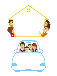 フレーム(家、自動車)/家族のイラスト素材 [FYI01654907]