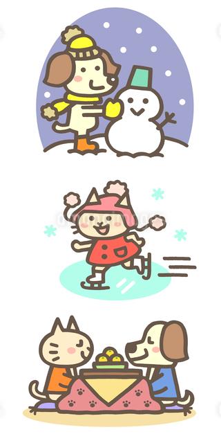 冬の動物キャラ(雪だるま、スケート、こたつでミカン)のイラスト素材 [FYI01654910]