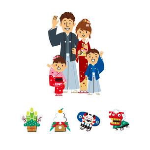 家族、正月のイラスト素材 [FYI01654922]