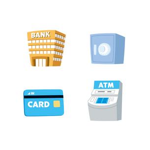 金融(銀行、金庫、カード、ATM)のイラスト素材 [FYI01654925]