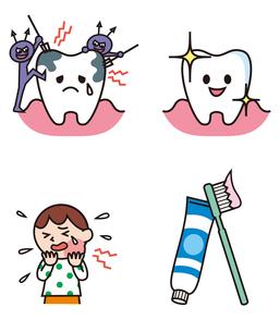 虫歯になる歯、健康な歯、子ども、歯ブラシと歯磨き粉のイラスト素材 [FYI01654926]