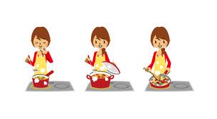 主婦料理(味見、煮込み、炒め/IHヒーター)のイラスト素材 [FYI01654932]