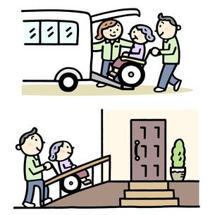 介護士 専用車でお迎え、スロープで車いすを押すのイラスト素材 [FYI01654942]