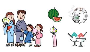 夏の家族、浴衣、スイカ、風鈴、かき氷、蚊取り線香のイラスト素材 [FYI01654970]