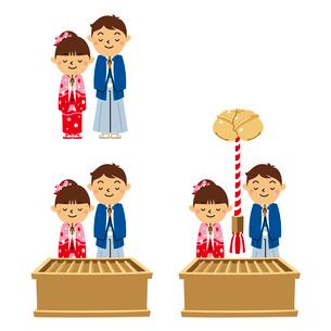 正月と子供(初詣、賽銭箱、鈴)のイラスト素材 [FYI01654973]