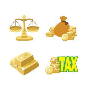 金融(天秤、銭袋、金塊、税金)のイラスト素材 [FYI01654990]