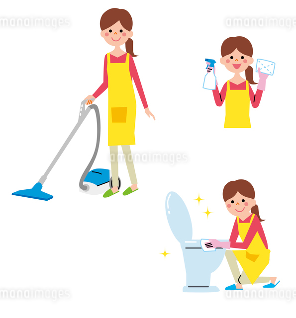 掃除している女性のイラスト素材 [FYI01655010]