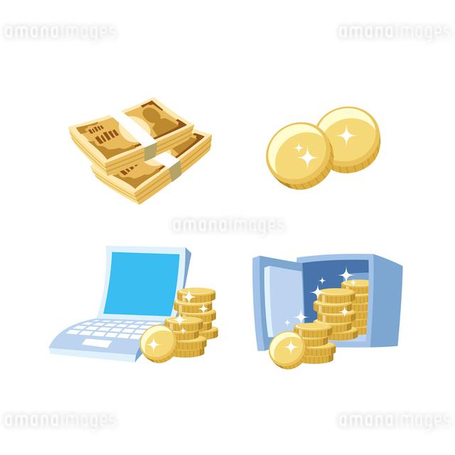 金融(お金、ネットバンキング、金庫)のイラスト素材 [FYI01655015]