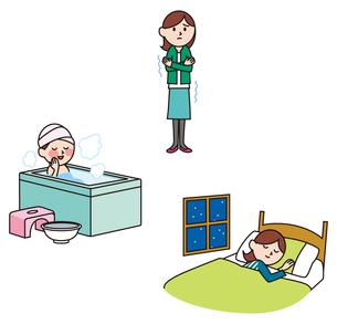 冷え性の女性、温浴、快眠のイラスト素材 [FYI01655020]