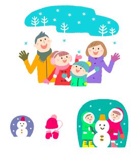 冬の家族と雪だるまのイラスト素材 [FYI01655036]