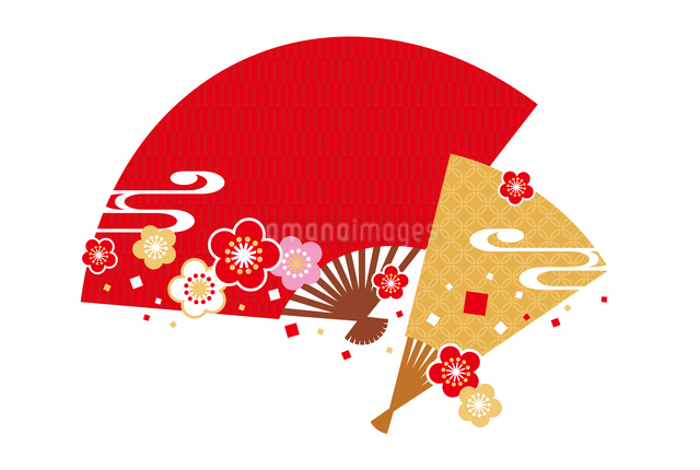年賀状/梅と扇子・赤のイラスト素材 [FYI01655038]
