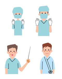 手術着の医者、女医、手術を受ける男性のイラスト素材 [FYI01655074]